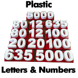 Custom Plastic Letters and Numbers PVC or 3D Printed Plastic